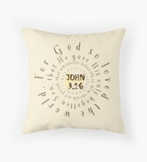 John 3.16 Bible Verse Circle Typography Throw Pillow