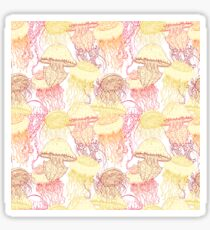 Vintage seamless pattern with collection of jellyfish Sticker