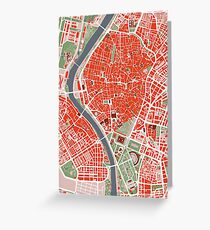 Seville city map classic Greeting Card
