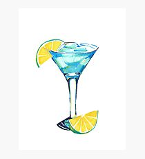 Blue alcohol cocktail with lime Photographic Print