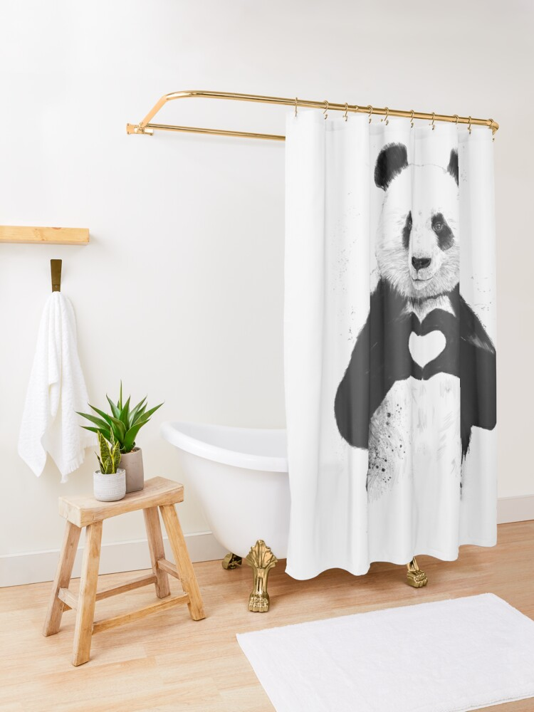 Alternate view of All you need is love Shower Curtain