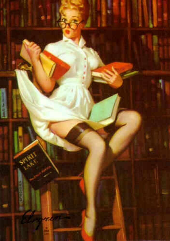 Gil Elvgren Pin Up Librarian by RookieRomance