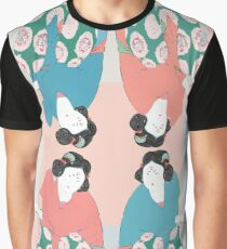 Asian woman with fan in traditional style geisha pattern Graphic T-Shirt
