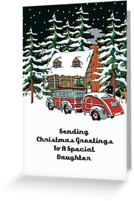 Daughter Sending Christmas Greetings Card by Gear4Gearheads
