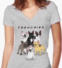 FRENCHIES Women's Fitted V-Neck T-Shirt