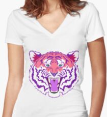 Pink Tiger Women's Fitted V-Neck T-Shirt