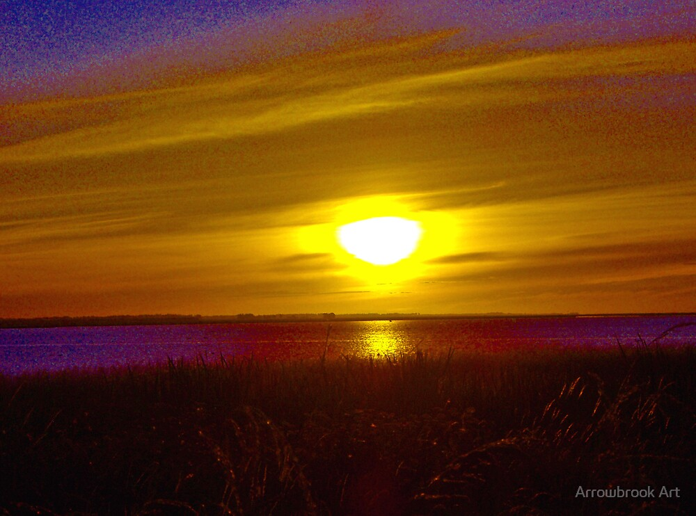 Nightfall - Lake Ellesmere by John Brotheridge