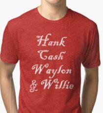 Hank Cash Waylon & Willie Cool Country Music Legends Tri-blend T-Shirt