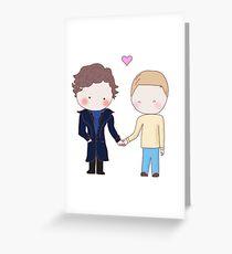 Johnlock - holding hands Greeting Card