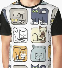 Cute Cat Icon Pattern Graphic T-Shirt