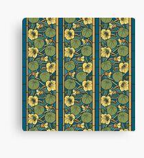 Vintage Art Nouveau Blue Floral Canvas Print