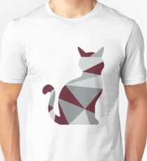Red Geometric Cat T-Shirt
