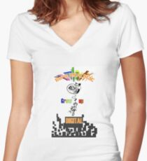 Born analogic grow up digital. Women's Fitted V-Neck T-Shirt