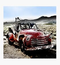 old red tow truck, route 66, cool springs, arizona Photographic Print