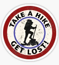 TAKE A HIKE GET LOST HIKING HIKER MOUNTAINS TRAILS NATURE GEOCACHING Sticker