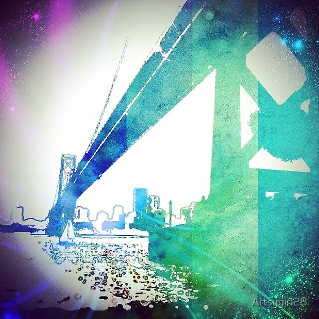 SF Bay Bridge Graphic - Digital Art  by Artsygirl28
