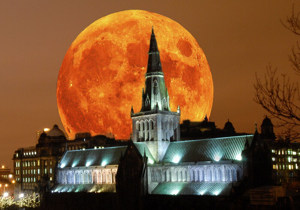 moon rise Glasgow cathedral by thecreativeaxis