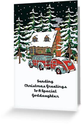 Goddaughter Sending Christmas Greetings Card by Gear4Gearheads