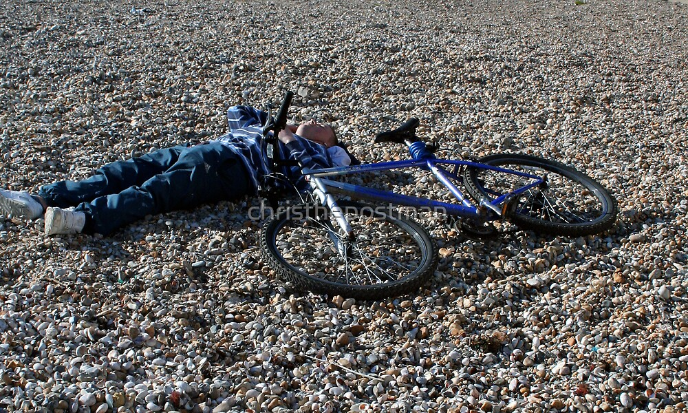 NO CYCLING ON THE BEACH YOU MAY FALL OFF!!! by christhepostman