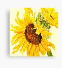 sunflower watercolor painting macro Canvas Print