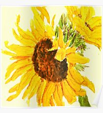 sunflower watercolor painting macro Poster