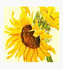 sunflower watercolor painting macro Photographic Print