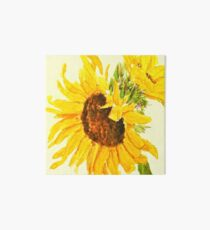 sunflower watercolor painting macro Art Board Print