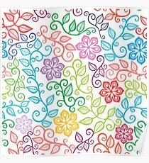 Colorful Floral Doodles Poster