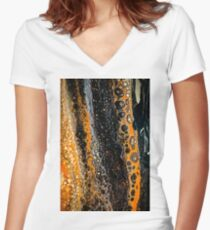 Abstract black gold orange Women's Fitted V-Neck T-Shirt