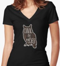 Owl By Myself - Pun Women's Fitted V-Neck T-Shirt