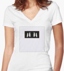 Abstract - Penguin Framed Women's Fitted V-Neck T-Shirt