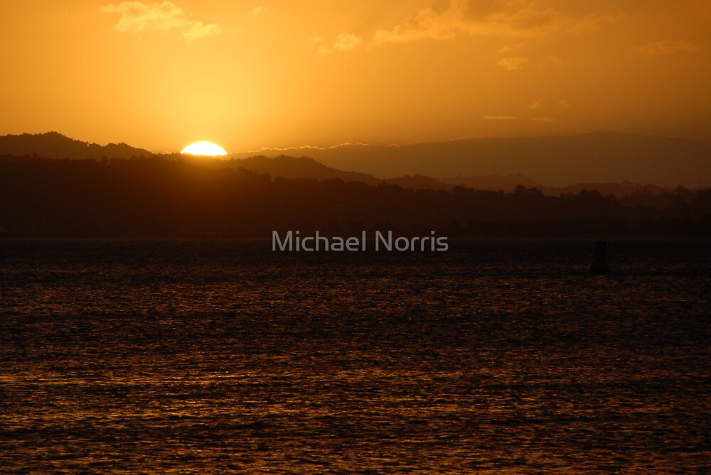 Sun Setting Over the Bay - Bay of Islands NZ by Michael Norris