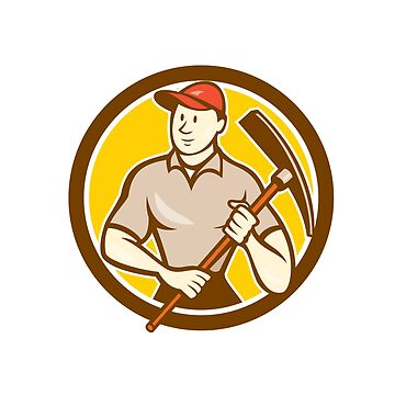 Construction Worker Holding Pickaxe Circle Cartoon by patrimonio