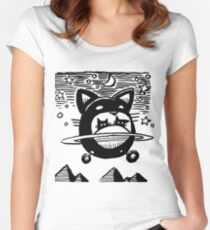 Cat Saucer Women's Fitted Scoop T-Shirt