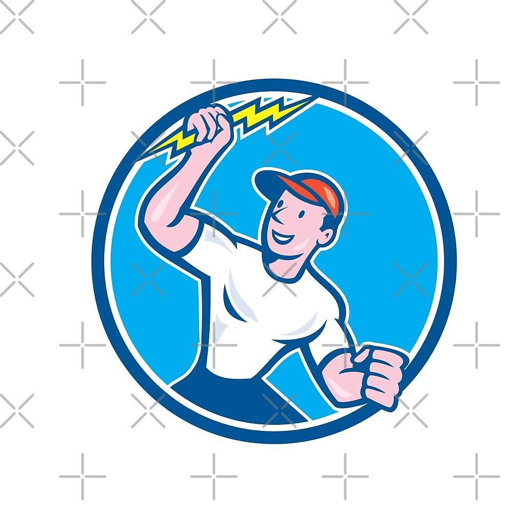 Electrician Holding Lightning Bolt Circle Cartoon by patrimonio