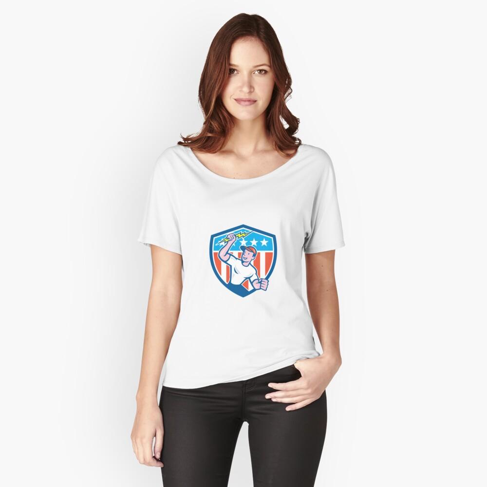 Electrician Lightning Bolt USA Flag Cartoon Women's Relaxed Fit T-Shirt Front
