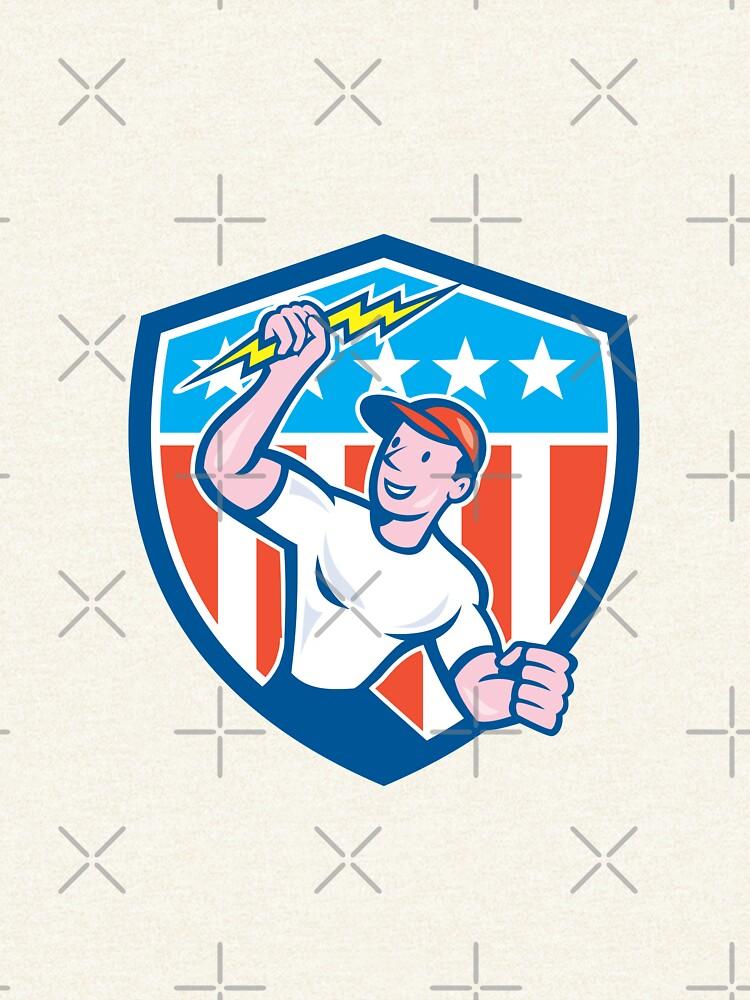 Electrician Lightning Bolt USA Flag Cartoon by patrimonio
