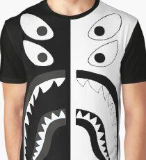 Black White - Bape Shark Graphic T-Shirt