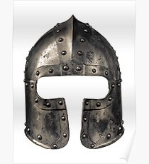 Medieval Armour Helmet Poster