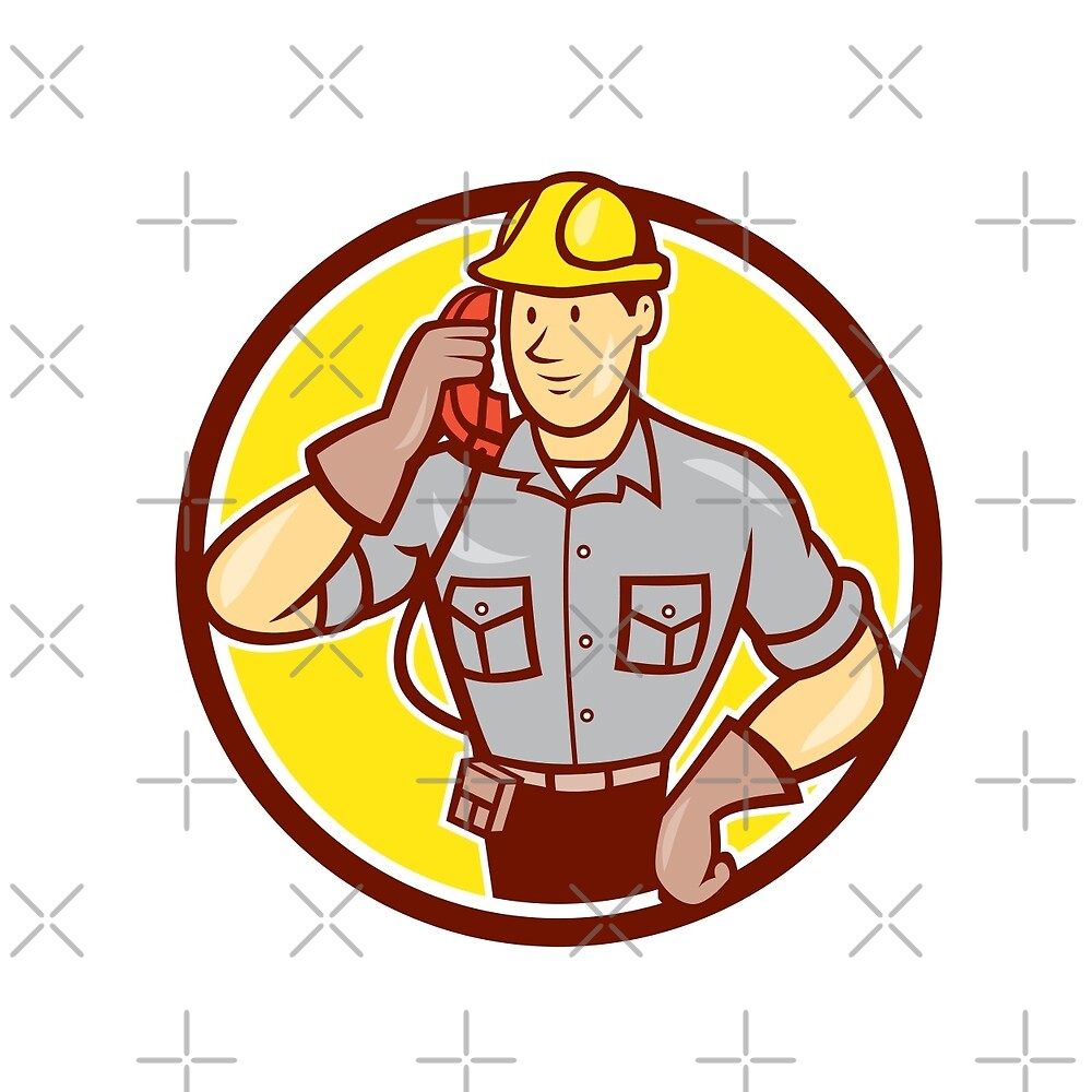 Telephone Repairman Phone Circle Cartoon  by patrimonio