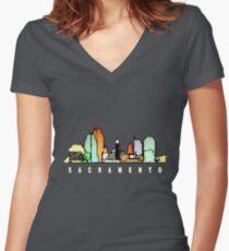 Sacramento, California Women's Fitted V-Neck T-Shirt