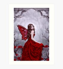 Winter Rose Butterfly Fairy Art Print