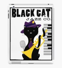 Black Cat playing Jazz iPad Case/Skin