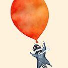 «Mapache y globo naranja» de Ruta Dumalakaite
