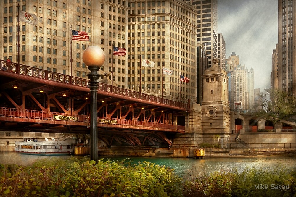 Chicago, IL - DuSable Bridge built in 1920  by Michael Savad
