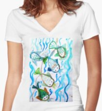 COLOR FISH Women's Fitted V-Neck T-Shirt