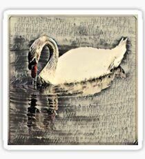 Japanese art print swan Sticker
