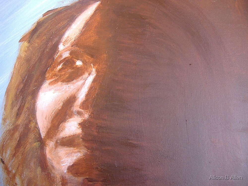 Out of the Shadows (Self-Portrait June 2007 Acrylic on canvas) Alison B Allen by fatchickengirl