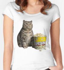 popcorn cat Women's Fitted Scoop T-Shirt