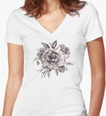 Black and White Roses Bouquet Women's Fitted V-Neck T-Shirt